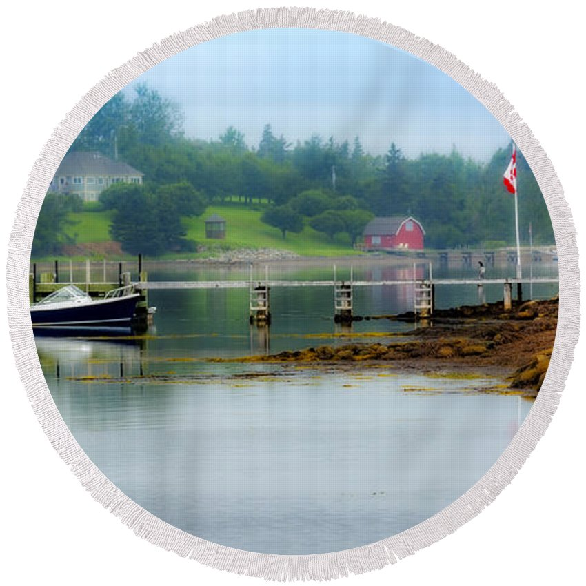 Nova Scotia Round Beach Towel featuring the photograph Misty Morning by Ken Morris