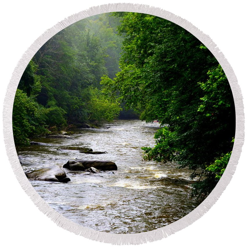 Mcconnells Mill State Park Pa Round Beach Towel featuring the photograph Misty Morning by Lisa Wooten