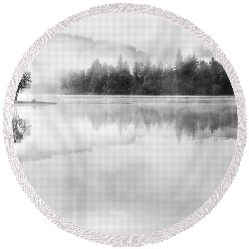 Landscape Round Beach Towel featuring the photograph Misty Morning At Loch Ard by Janet Burdon
