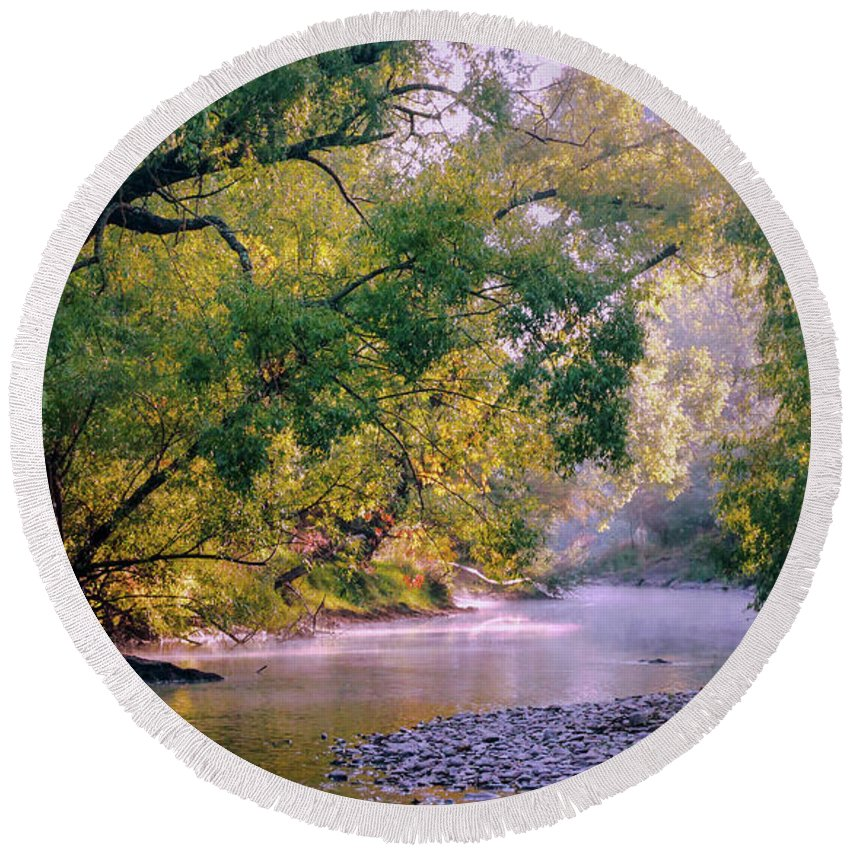 Man From Snowy River Series Bu Lexa Harpell Round Beach Towel featuring the photograph Misty Morning On Nariel Creek by Lexa Harpell