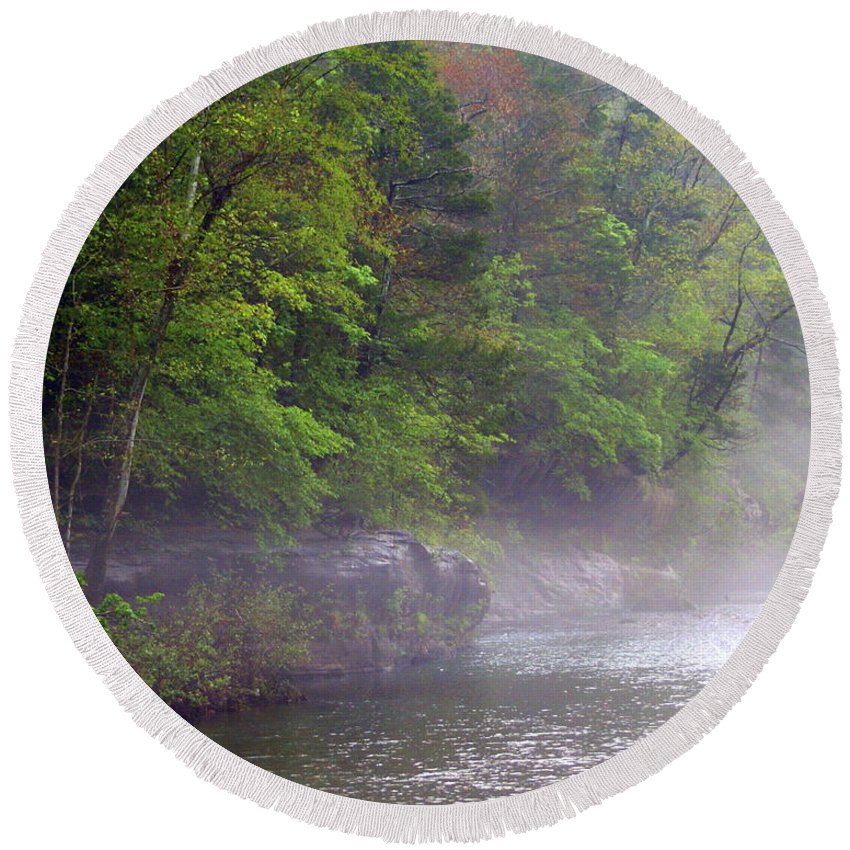 Buffalo National River Round Beach Towel featuring the photograph Misty Morning On The Buffalo by Marty Koch