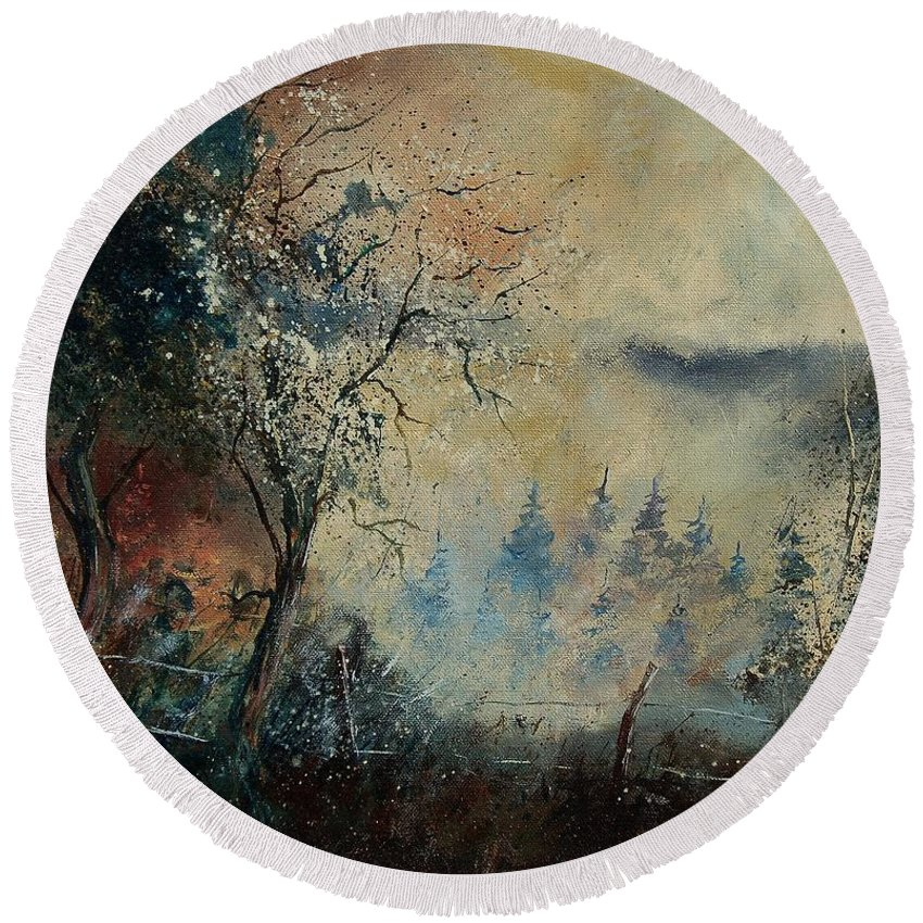 Tree Round Beach Towel featuring the painting Misty Morning by Pol Ledent