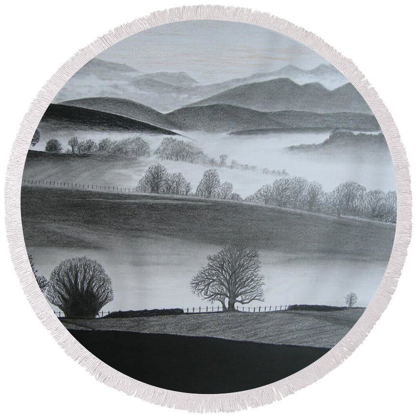 Landscapes Round Beach Towel featuring the drawing Misty Morning by Stephen W Keller