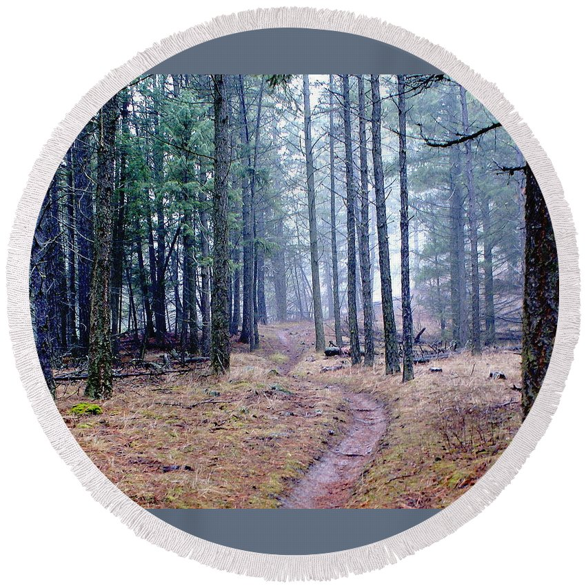 Nature Round Beach Towel featuring the photograph Misty Morning Trail In The Woods by Ben Upham III