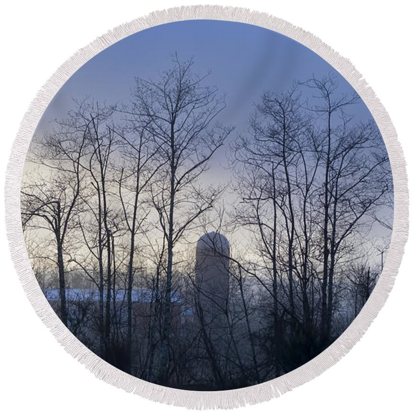 Round Beach Towel featuring the photograph Misty Mornings by Cathy Anderson