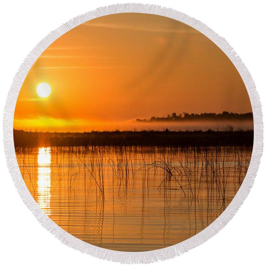 Orange Round Beach Towel featuring the photograph Misty Orange Sunrise On Boy Lake by Patti Deters