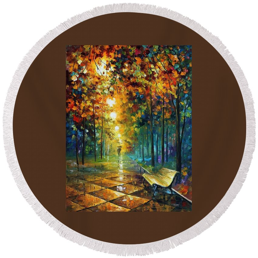 Afremov Round Beach Towel featuring the painting Misty Park by Leonid Afremov