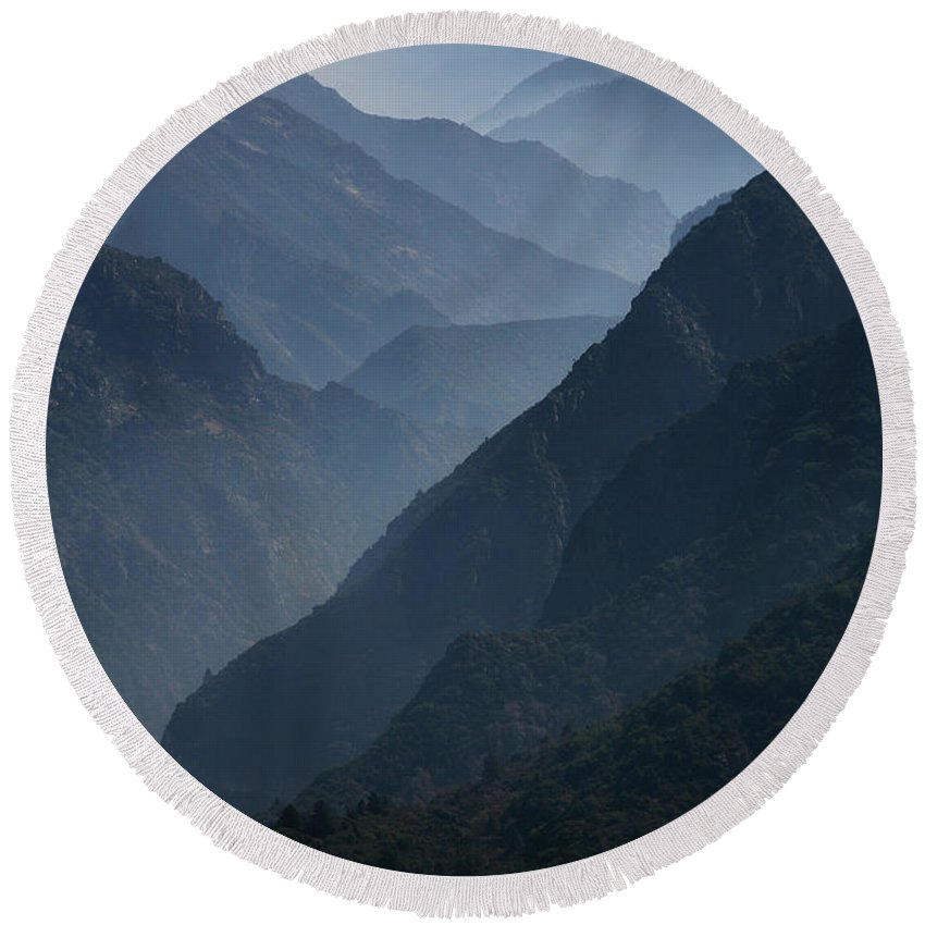 Mountains Round Beach Towel featuring the photograph Misty Peaks by Timothy Johnson