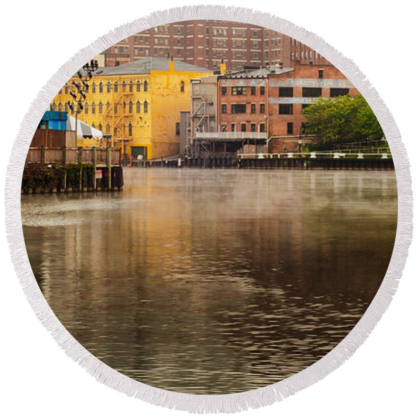 Cleveland Round Beach Towel featuring the photograph Misty River Cleveland by Kenneth Sponsler