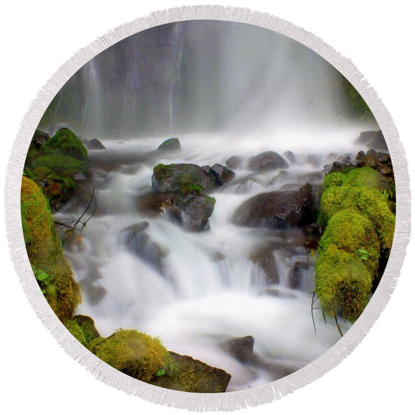 Waterfall Round Beach Towel featuring the photograph Misty Waters by Marty Koch