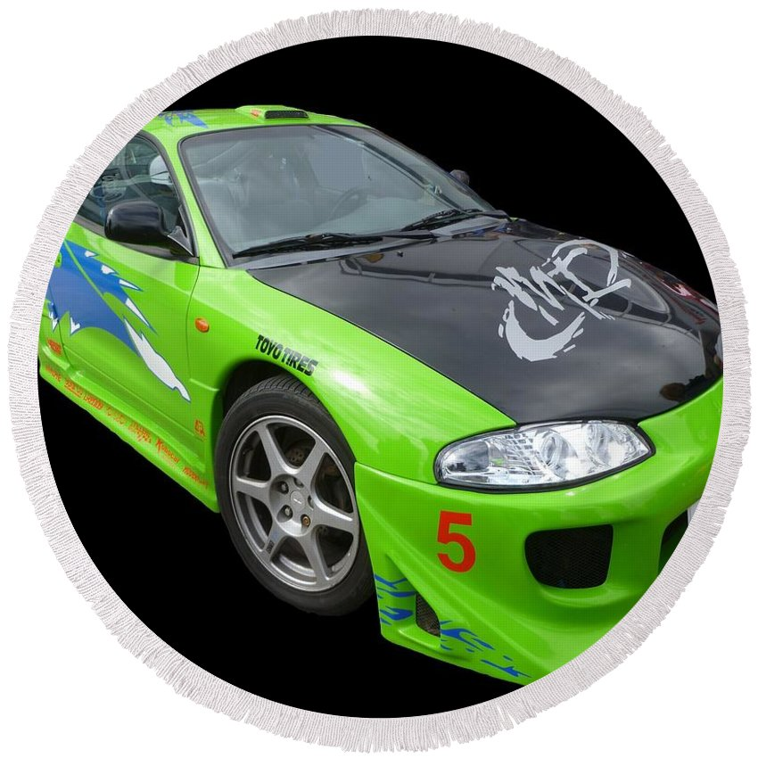 Mitsubishi Round Beach Towel featuring the photograph Mitsubishi Eclipse by Vicki Spindler
