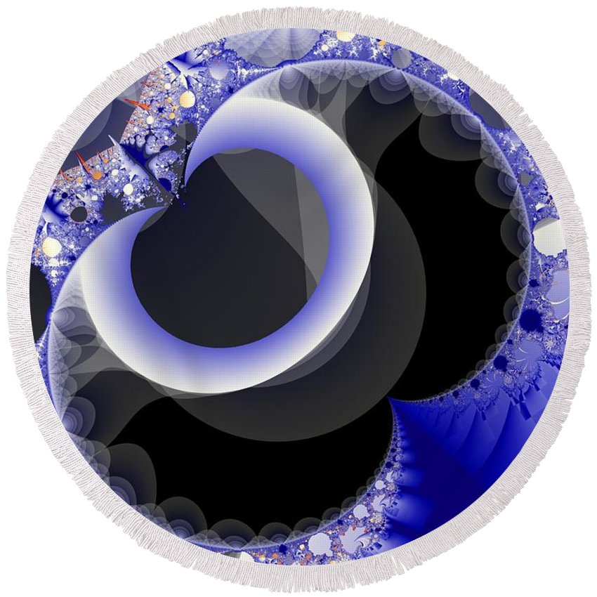 Fractal Image Round Beach Towel featuring the digital art Mix Of Blue And Gray by Ron Bissett