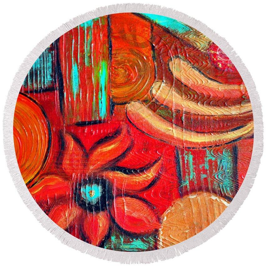 Mixed Media Abstract Round Beach Towel featuring the painting Mixed Media Abstract by Davids Digits