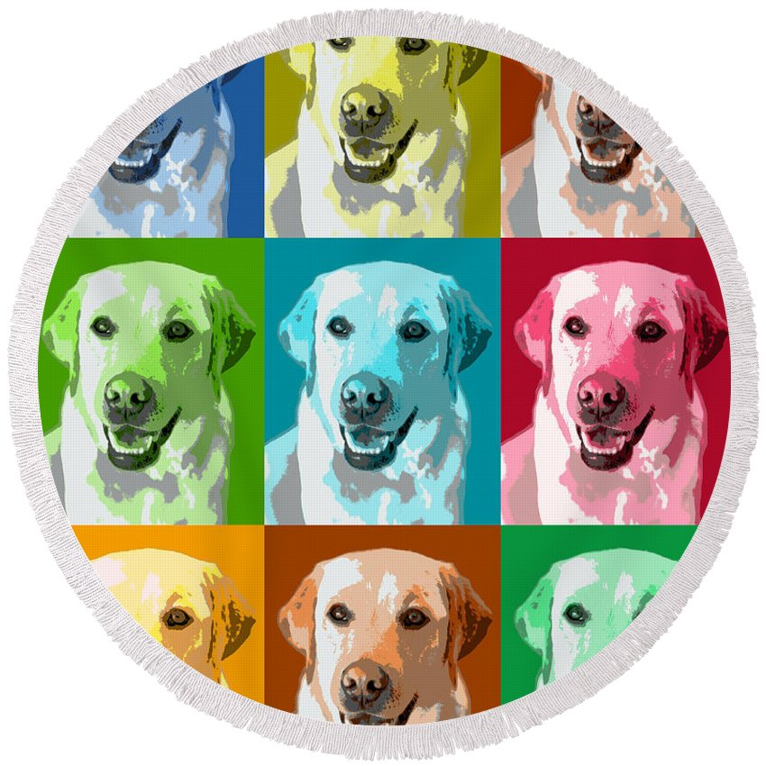 Americana Round Beach Towel featuring the photograph Golden Retriever Warhol by Marilyn Hunt