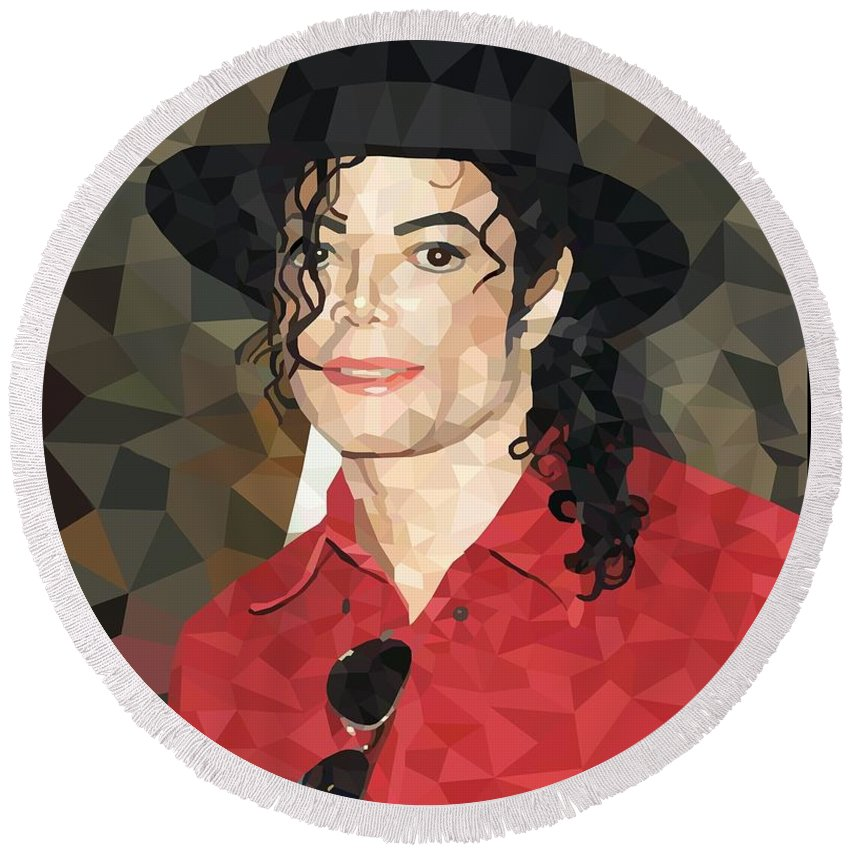 Michael Round Beach Towel featuring the digital art Mj Low Poly by Adri Barbieux