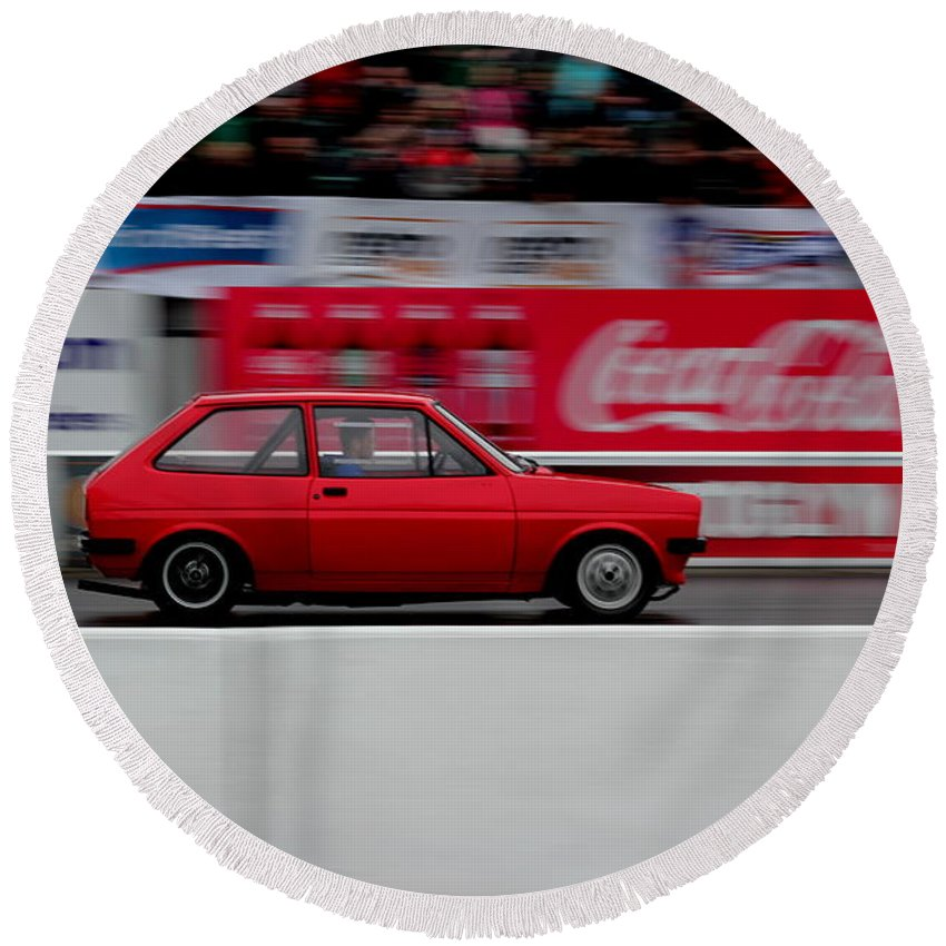 Race Round Beach Towel featuring the photograph Mk1 On Track by Perggals - Stacey Turner