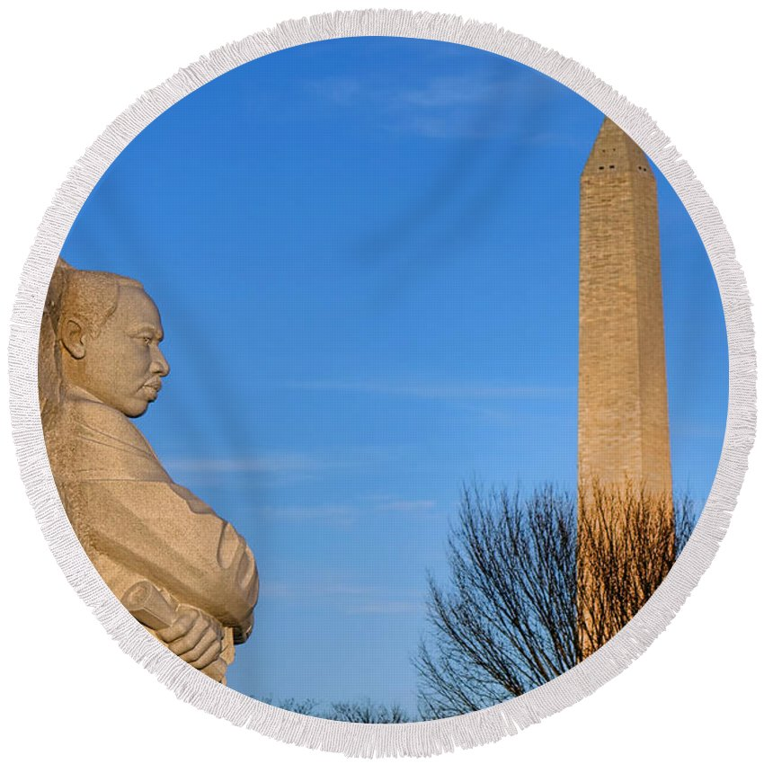 Washington Round Beach Towel featuring the photograph Mlk And Washington Monuments by Olivier Le Queinec