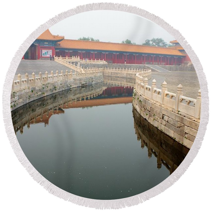 Moat Round Beach Towel featuring the photograph Moat Forbidden City Beijing by Thomas Marchessault