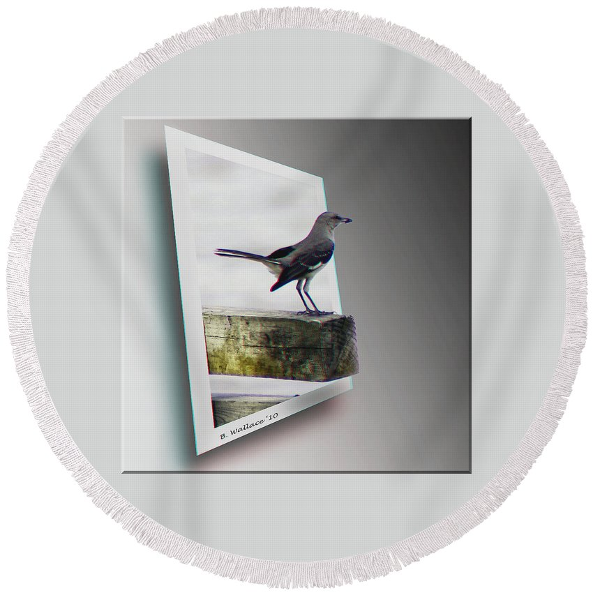 3d Round Beach Towel featuring the photograph Mockingbird - Use Red-cyan 3d Glasses by Brian Wallace