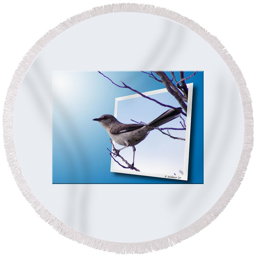 2d Round Beach Towel featuring the photograph Mockingbird Branch by Brian Wallace