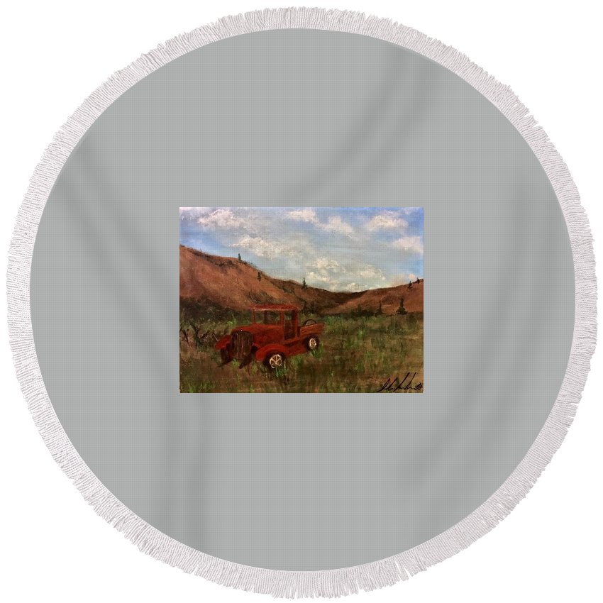 Model A Truck Round Beach Towel featuring the painting Model A Ghost Town Truck by Sarah Kleinhans
