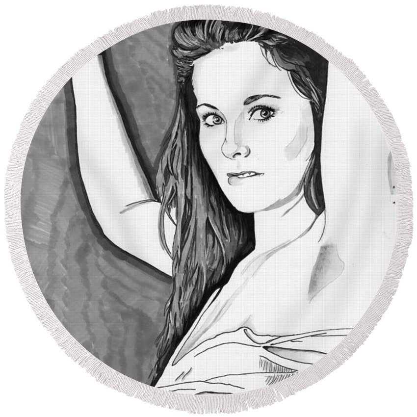 Shanna Round Beach Towel featuring the drawing Model Shanna by Bill Richards