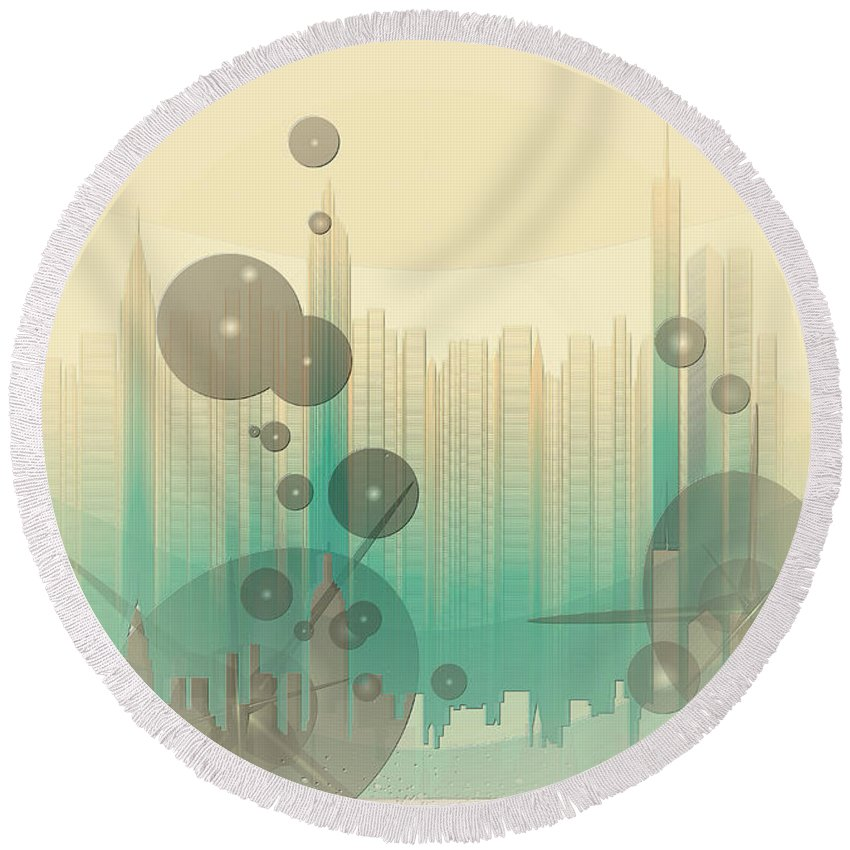 Modern City Abstract Round Beach Towel featuring the photograph Modern City Abstract by Robert G Kernodle