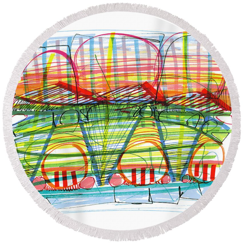 Modern Drawing Round Beach Towel featuring the drawing Modern Drawing Eighty-nine by Lynne Taetzsch