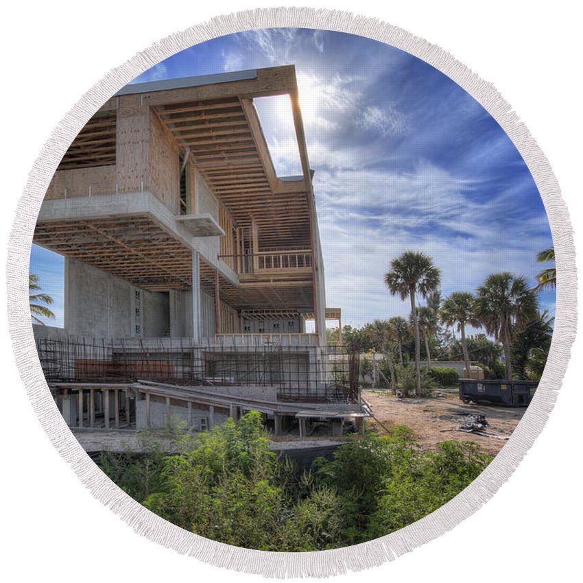 Modern House Round Beach Towel featuring the photograph Modern House by David B Kawchak Custom Classic Photography