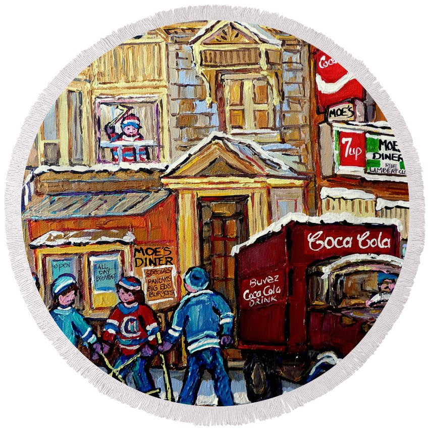 Montreal Round Beach Towel featuring the painting Moe's Corner Snack Bar And Diner Montreal Landmark Restaurant Canadian Art Carole Spandau by Carole Spandau