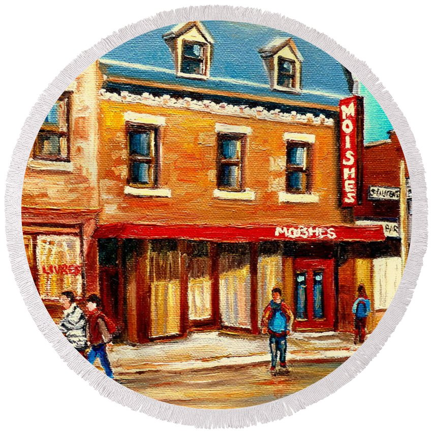 Moishes Steakhouse Round Beach Towel featuring the painting Moishes The Place For Steaks by Carole Spandau