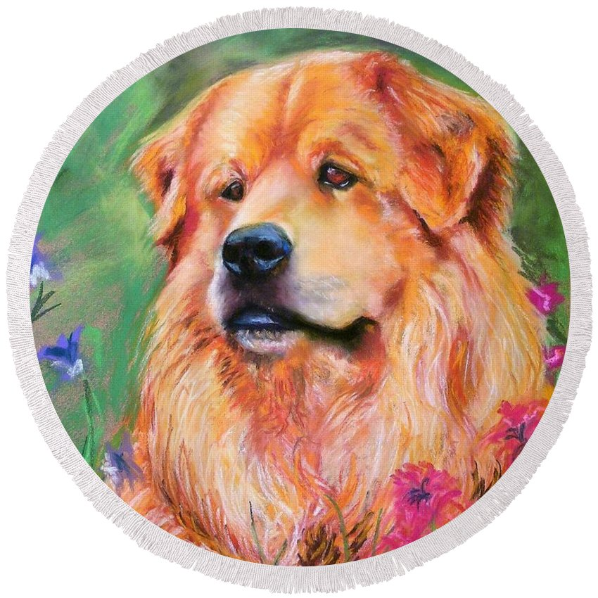 Chow Round Beach Towel featuring the painting Molly by Frances Marino