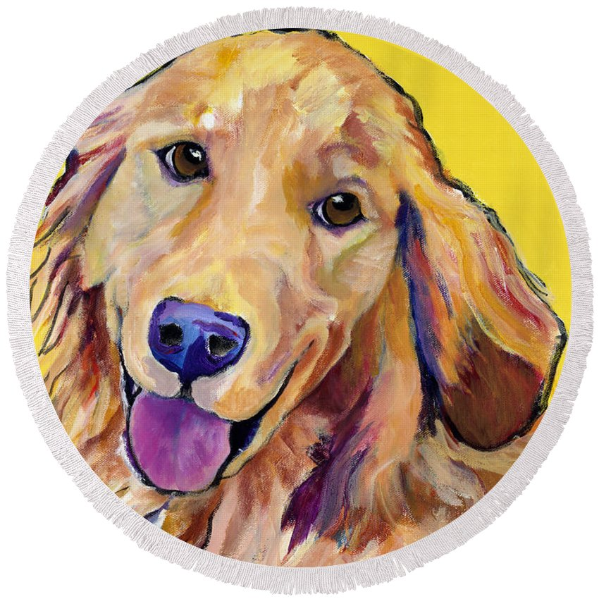 Acrylic Paintings Round Beach Towel featuring the painting Molly by Pat Saunders-White