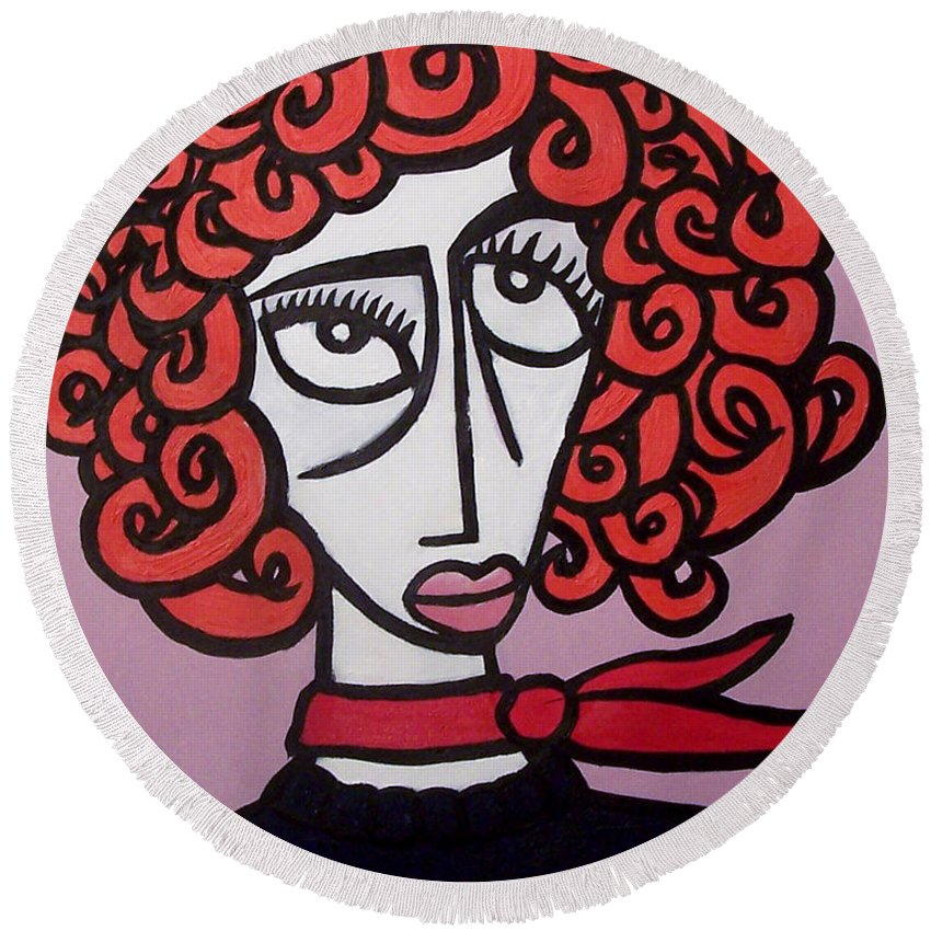 Portaits Round Beach Towel featuring the painting Molly by Thomas Valentine
