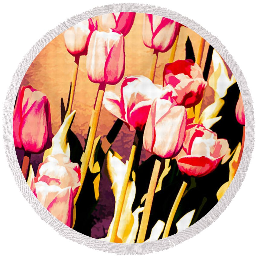 Tulips Round Beach Towel featuring the photograph Molten Gold Tulips by Dawn Dasharion