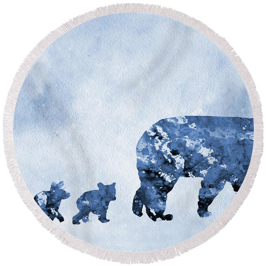 Mom And Baby Bears Round Beach Towel featuring the digital art Mom And Baby Bears-blue by Erzebet S