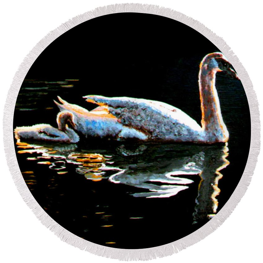 Swan Round Beach Towel featuring the painting Mom And Baby Swan by Stan Hamilton