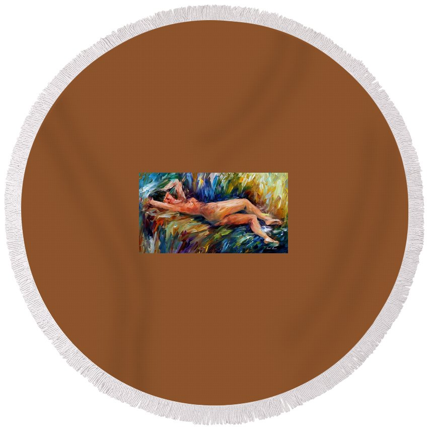 Nude Round Beach Towel featuring the painting Moment Of Pleasure by Leonid Afremov