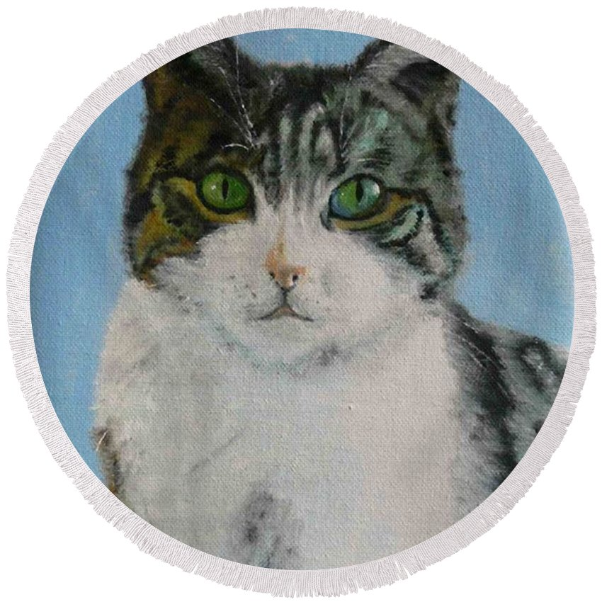 Tomcat Round Beach Towel featuring the painting Momo by Helmut Rottler