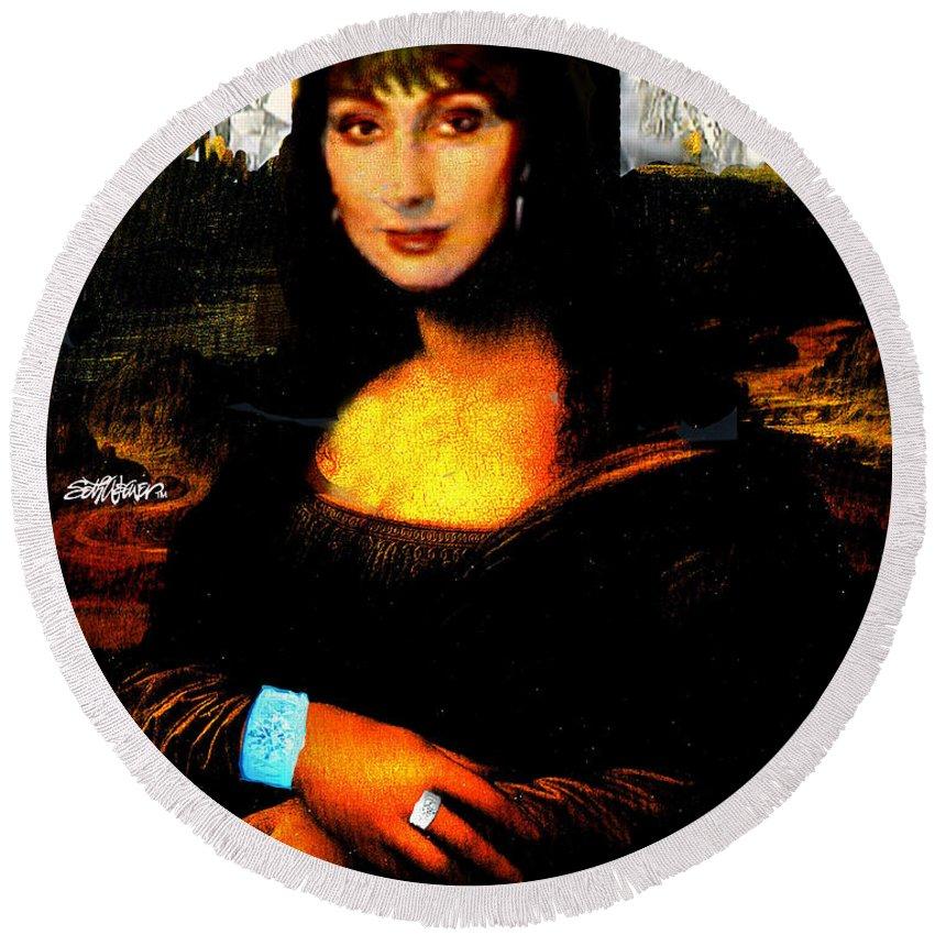 Mona Cher Round Beach Towel featuring the digital art Mona Cher by Seth Weaver