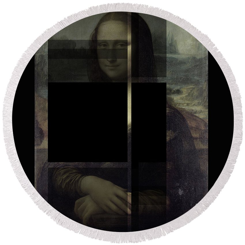 Renaissance Round Beach Towel featuring the photograph Mona Lisa #3dk by D A Metrov