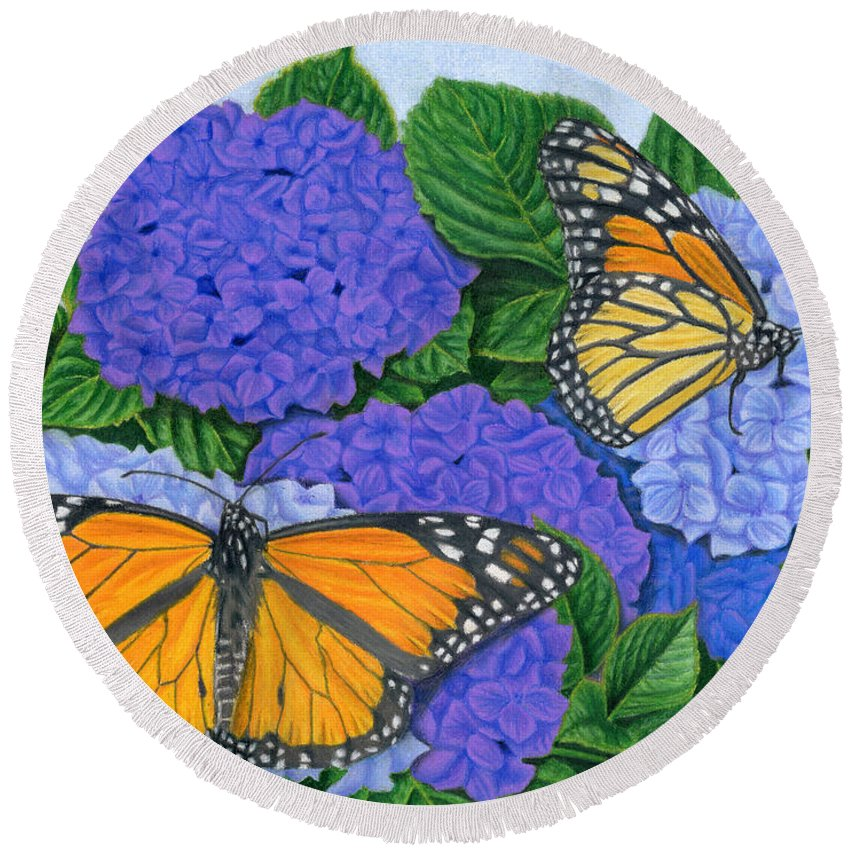 Monarch Butterflies Round Beach Towel featuring the painting Monarch Butterflies And Hydrangeas by Sarah Batalka