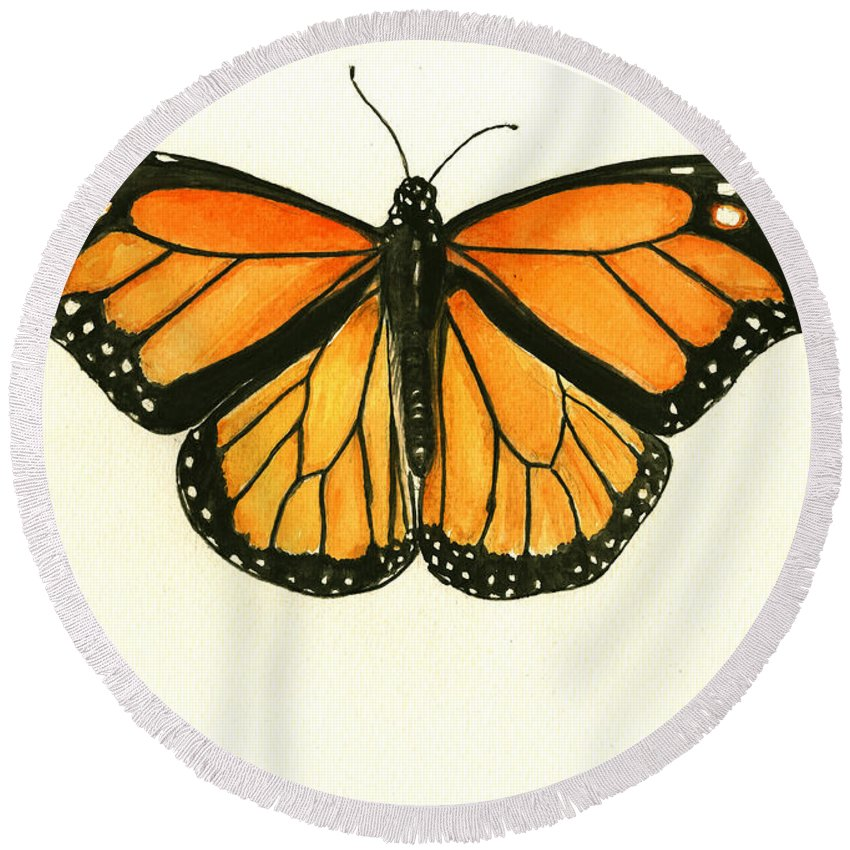 Monarch Butterfly Round Beach Towels