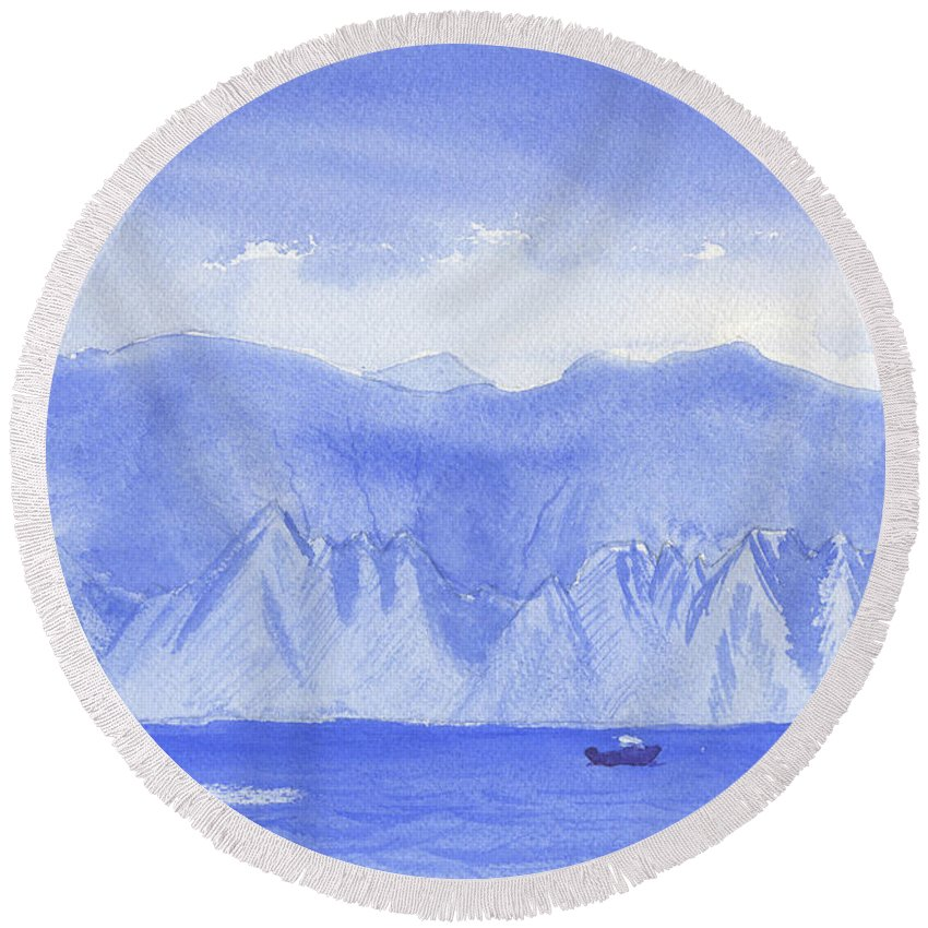 Mountains Round Beach Towel featuring the painting Monarch Flatirons II by Victor Vosen