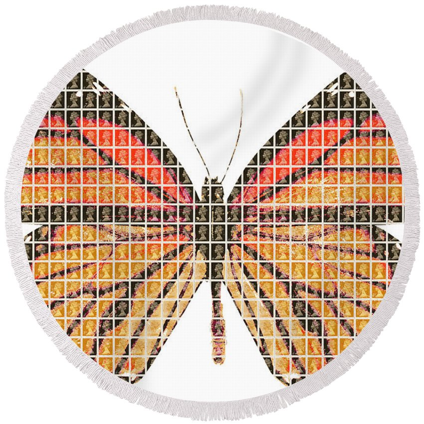 Monarch Round Beach Towel featuring the painting Monarch by Gary Hogben