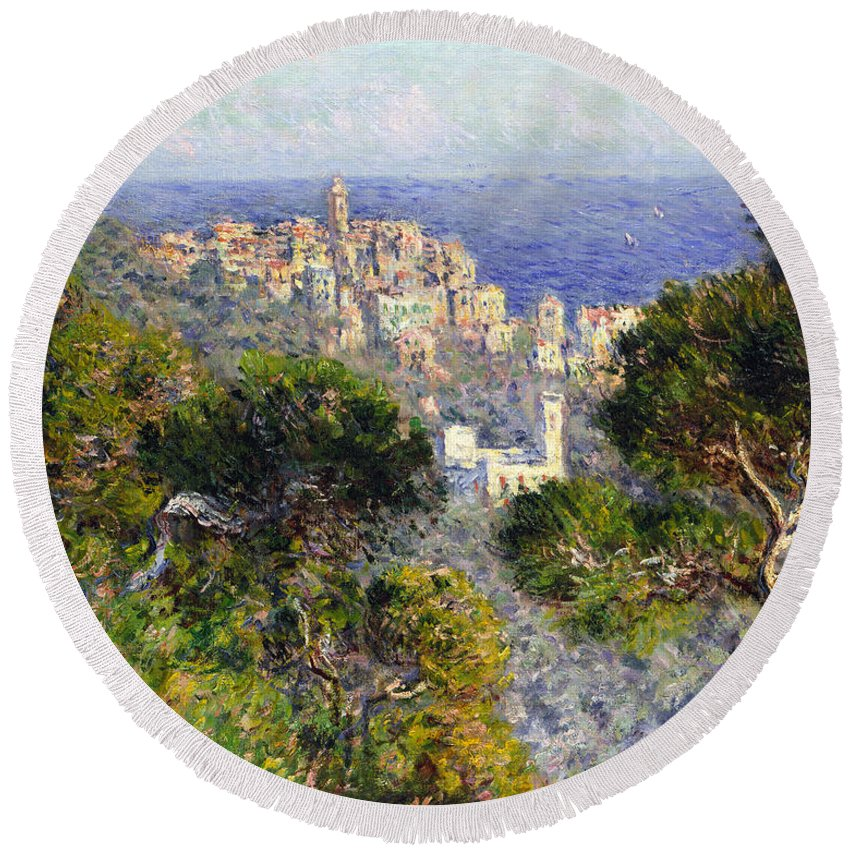 1884 Round Beach Towel featuring the photograph Monet: Bordighera, 1884 by Granger