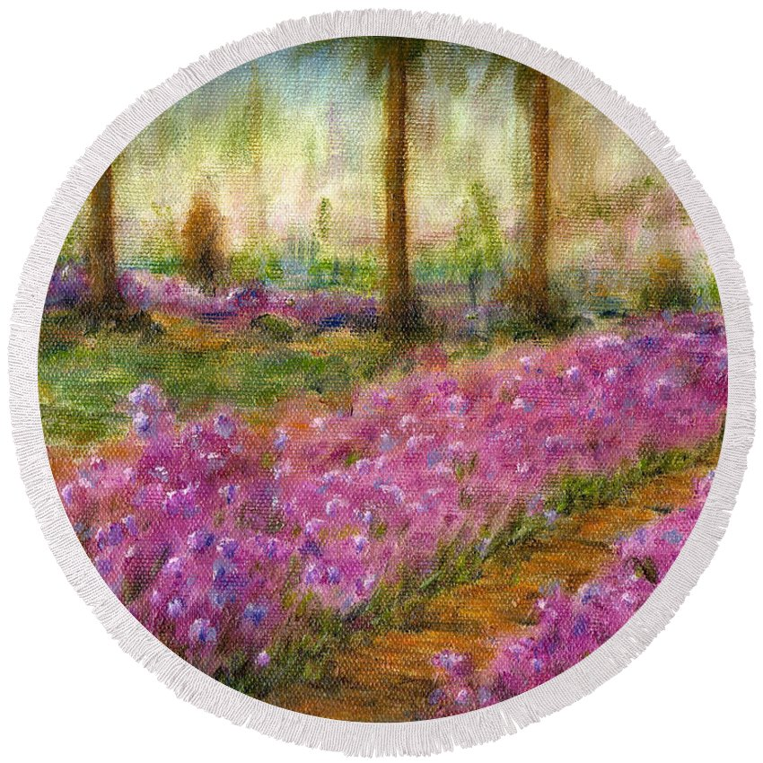 Monet Round Beach Towel featuring the painting Monet's Garden In Cannes by Jerome Stumphauzer
