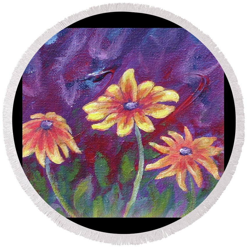 Small Acrylic Painting Round Beach Towel featuring the painting Monet's Small Composition by Jennifer McDuffie