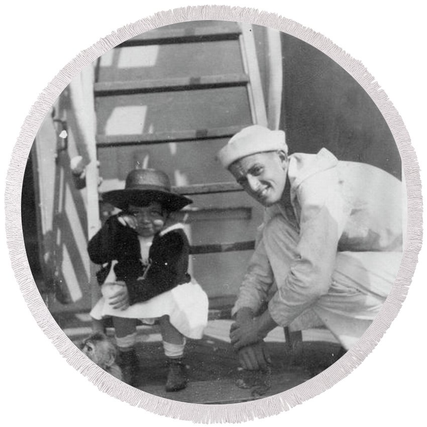 Sailors Round Beach Towel featuring the photograph Monkey On The Ship by Unknown