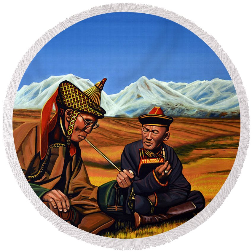 Mongolia Round Beach Towel featuring the painting Mongolia Land Of The Eternal Blue Sky by Paul Meijering